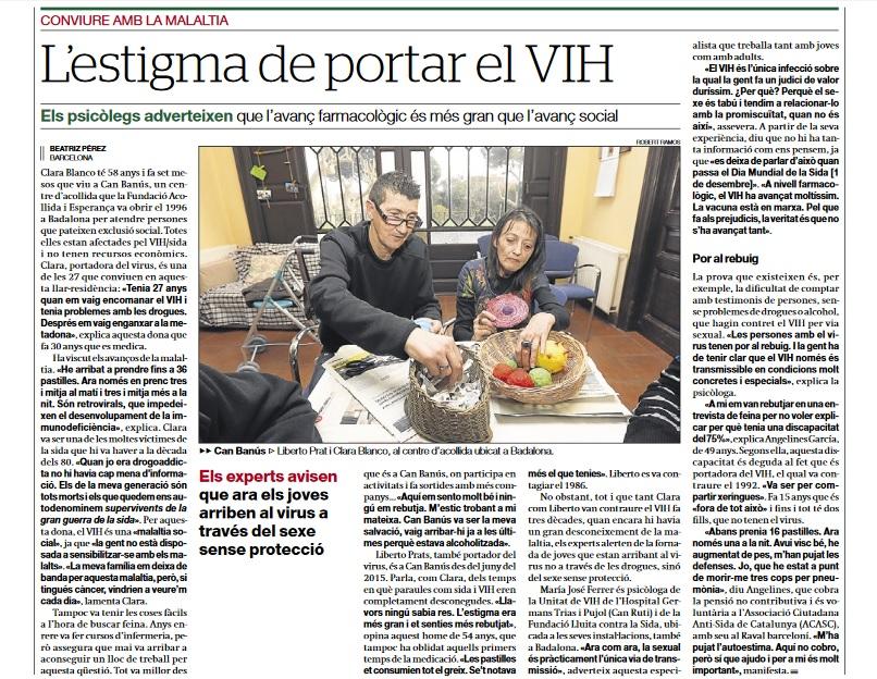 (Català) L'ESTIGMA DE PORTAR VIH. EL PERIÓDICO DE CATALUNYA
